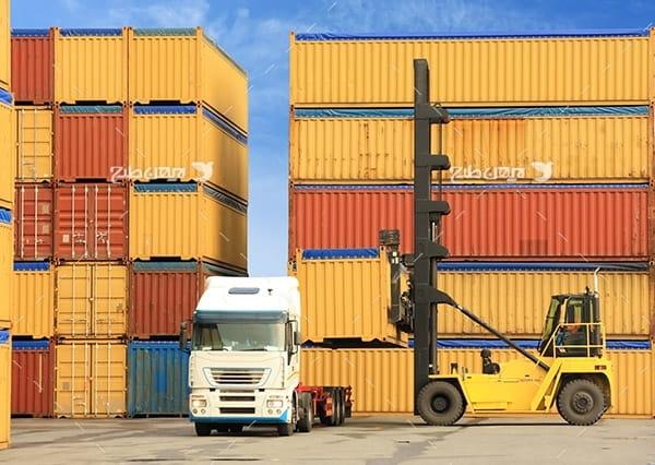 تصویر صنعتی از حمل و نقل، کامیون،لیفتراک،کانتینر