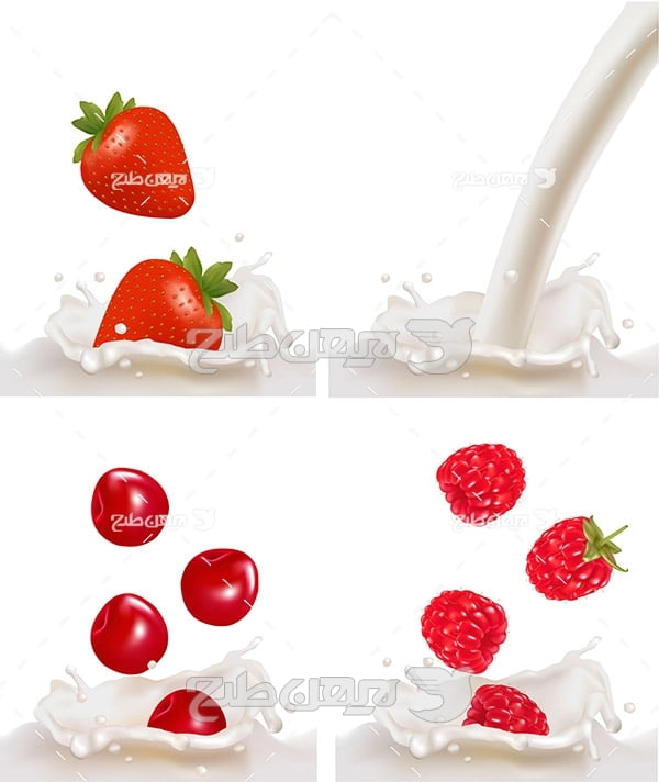 وکتور میکس شیر و توت فرنگی