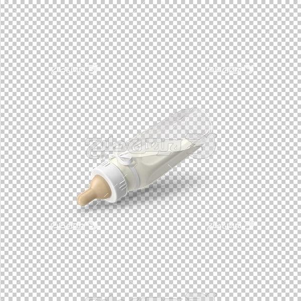 تصویر دوربری سه بعدی شیشه شیر نوزاد