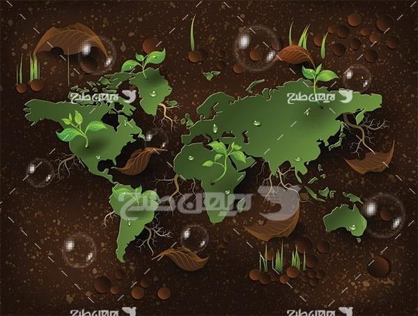 وکتور محیط زیست و نقشه کره زمین