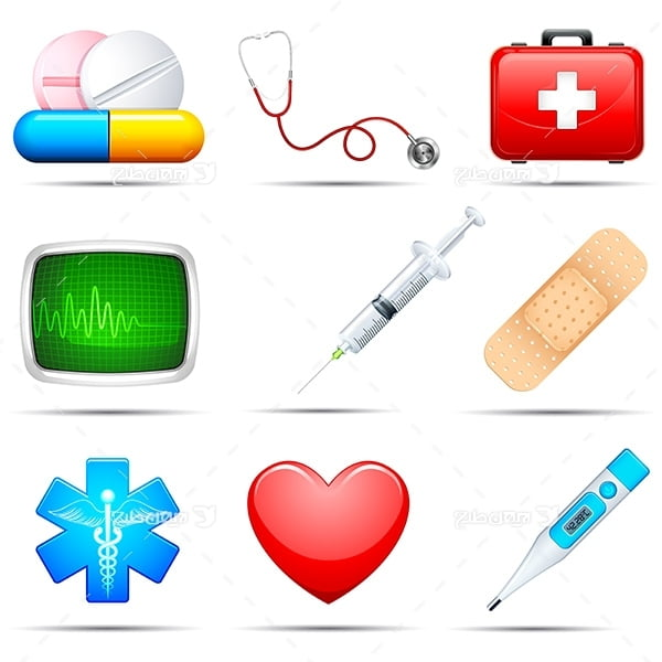 مجموعه وکتور و آیکن پزشکی و درمان