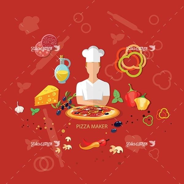 طرح وکتور آشپز و فست فود