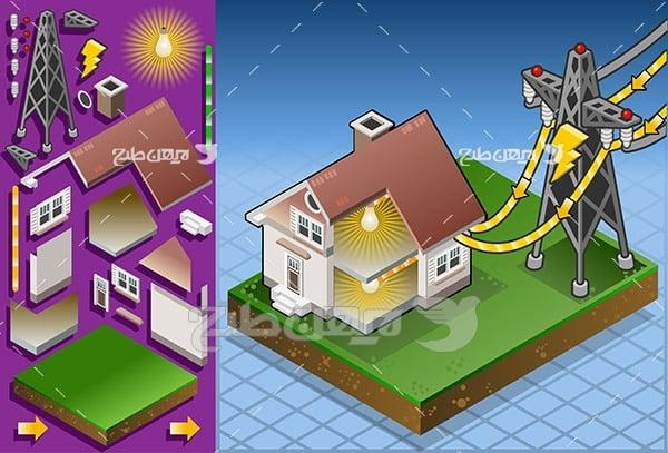 وکتور انتقال برق از دکل برق به خانه و ساختمان