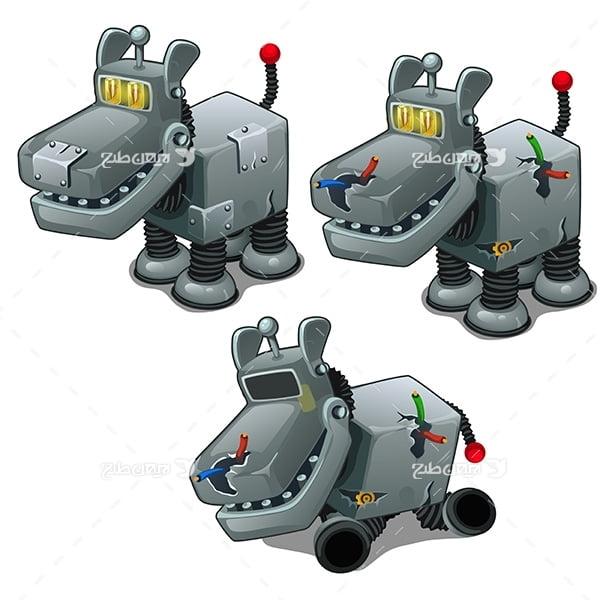 طرح گرافیکی وکتور ربات سگ