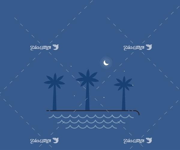 وکتور گرافیکی دریا ، نخل و ماه
