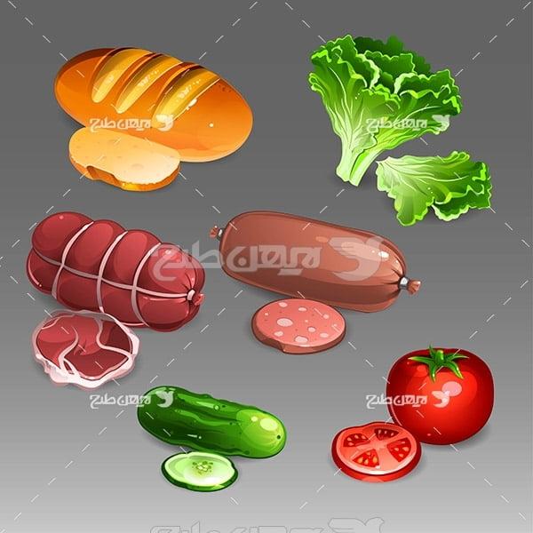 وکتور گوشت و سبزی جات