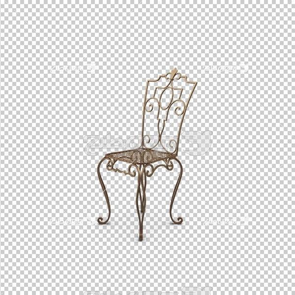 تصویر دوربری سه بعدی صندلی فلزی مجلسی