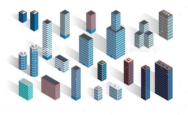 طرح گرافیکی وکتور سه بعدی ساختمان آسمان خراش