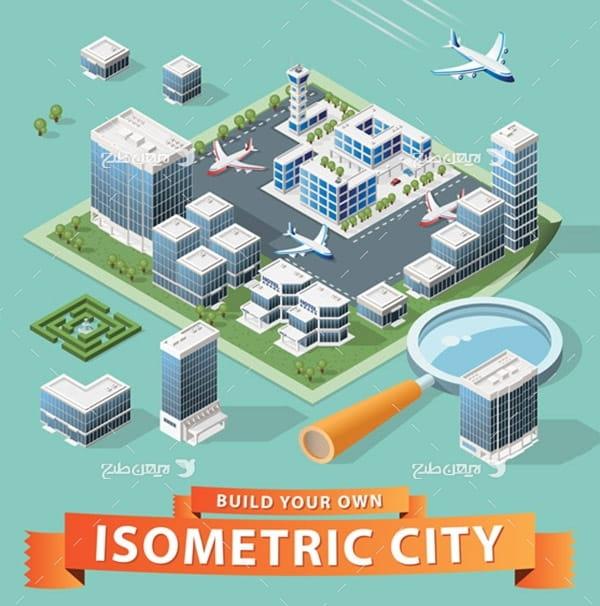 طرح گرافیکی وکتور سه بعدی ساختمان و شهر