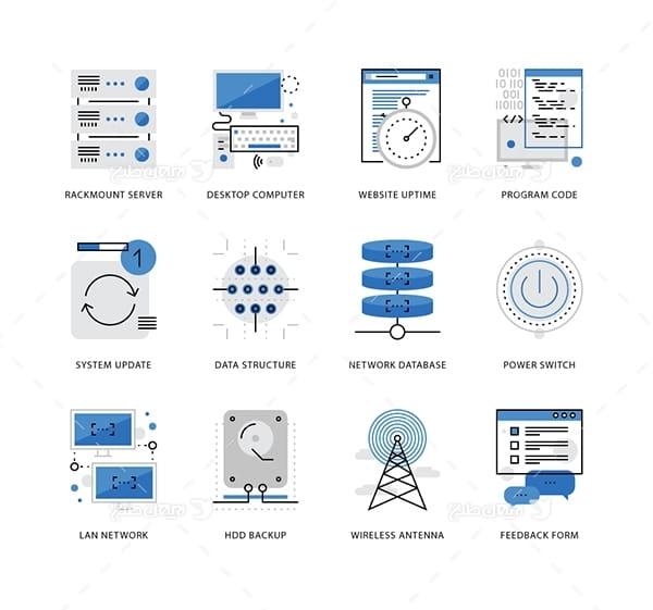 طرح وکتور آیکن با موضوع فناوری شبکه