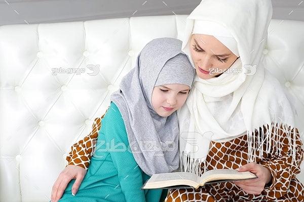 عکس مادر و دختر مسلمان