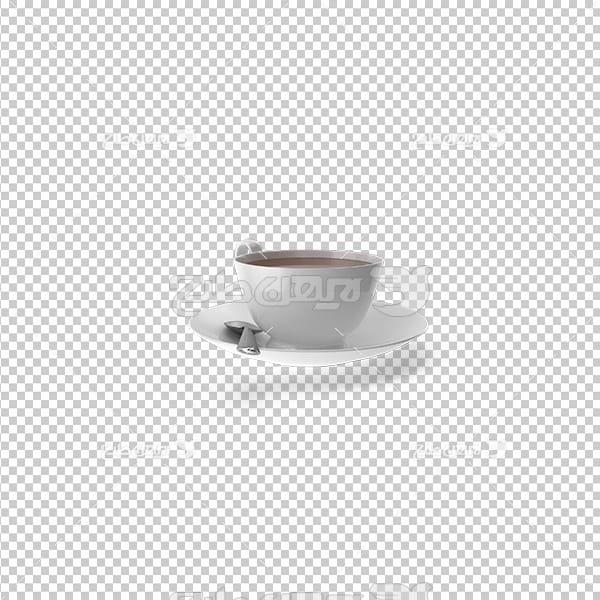 تصویر دوربری سه بعدی فنجان قهوه