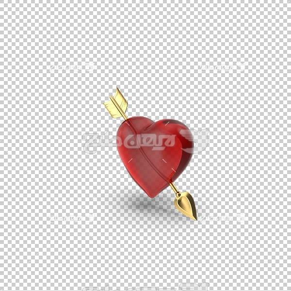 تصویر سه بعدی دوربری قلب قرمز و تیر