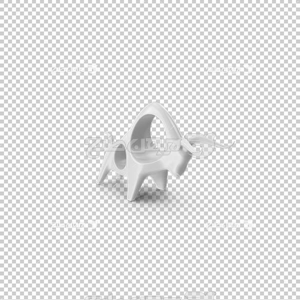 تصویر سه بعدی دوربری مجسمه گاو وحشی