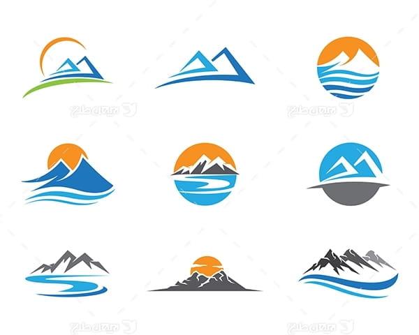 لوگو کوه و کوهستان و خورشید