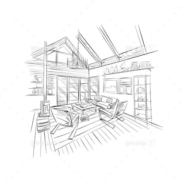 طرح گرافیکی وکتور اسکیج درون ساختمان