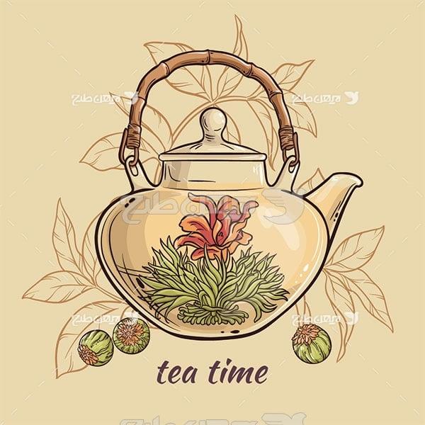 وکتور چای دمنوش