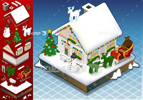 وکتور خانه برفی و برف