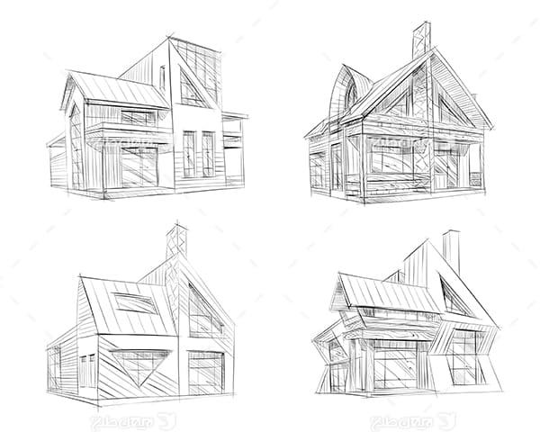طرح گرافیکی وکتور اکسیج نقاشی ساختمان و خانه