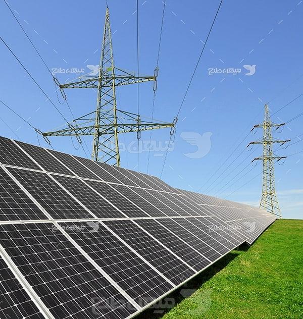 عکس دکل برق و پنل خورشیدی