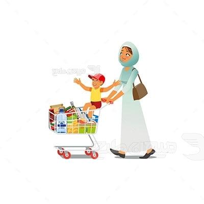 وکتور کاراکتر حجاب مادر در فروشگاه