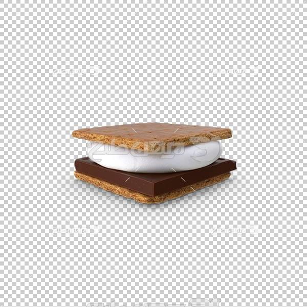 تصویر سه بعدی دوربری کیک خامه ای و شکلاتی