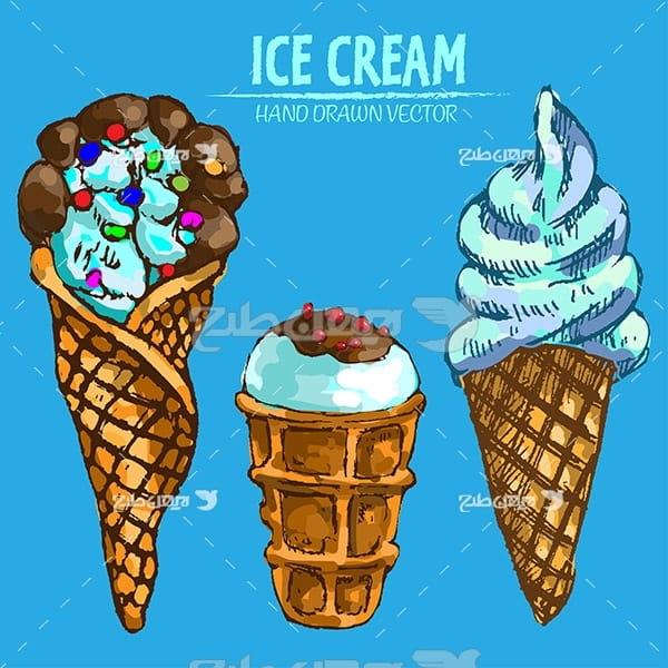 وکتور گرافیک بستنی قیفی