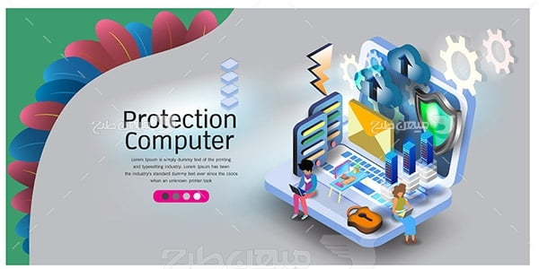 وکتور اسلایدر وب و کامپیوتر حفاظت