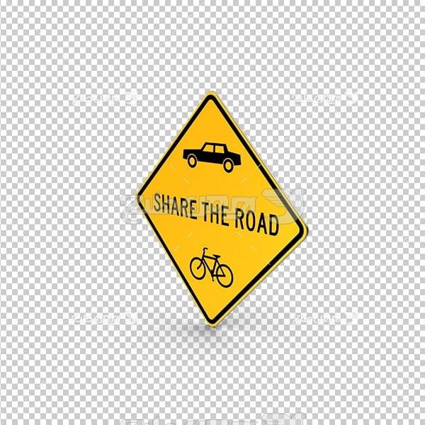 تصویر دور بری سه بعدی تابلو عبور دوچرخه و ماشین