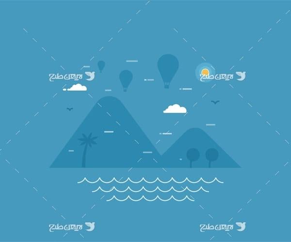 وکتور گرافیکی دریا ، کوه ، نخل ، بالون