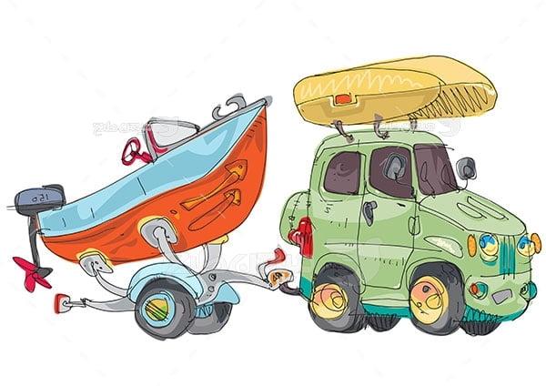 وکتور قایق و ماشین