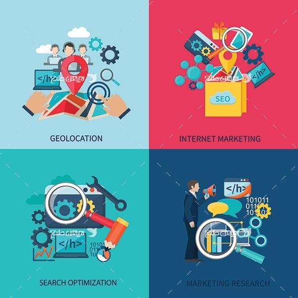 طرح وکتور گرافیکی مارکت فروشگاه، نقشه، و جستجوگر