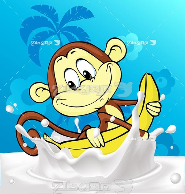 وکتور شیر موز و میمون