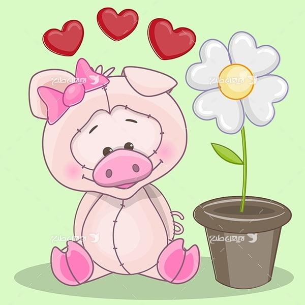 طرح وکتور حيوانات-خوک
