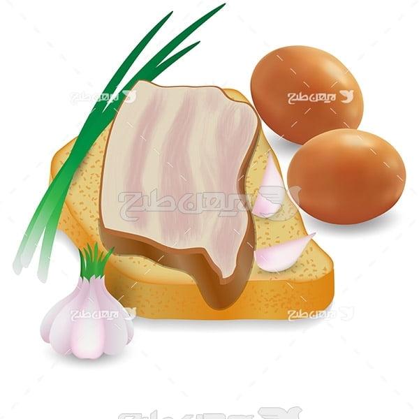 وکتور نان توست و سبزی جات