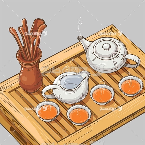 وکتور مواد غذایی قوری و چای