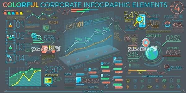 طرح وکتور اینفوگرافیک و اطلاعات سه بعدی