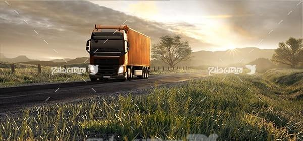 تصویر حمل و نقل و کامیون و جاده