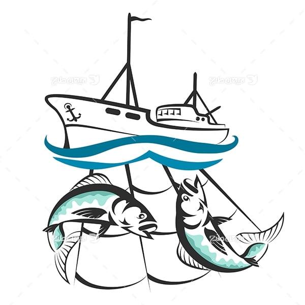 لوگو کشتی صیادی و ماهیگیری و تور ماهیگیری