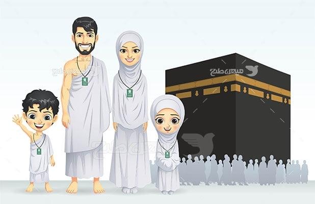 وکتور کاراکتر حجاب خانواده در حج