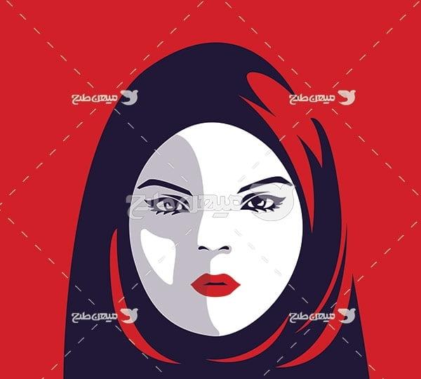 وکتور چهره زن با حجاب