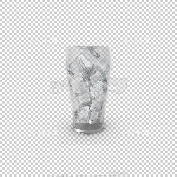 تصویر سه بعدی دوربری لیوان پر از یخ