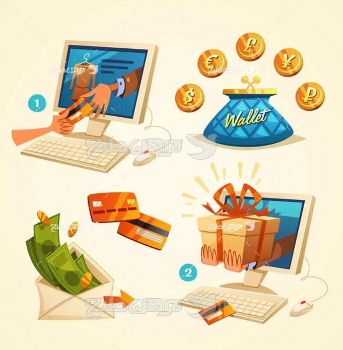 وکتور کامپیوتر و پرداخت آنلاین
