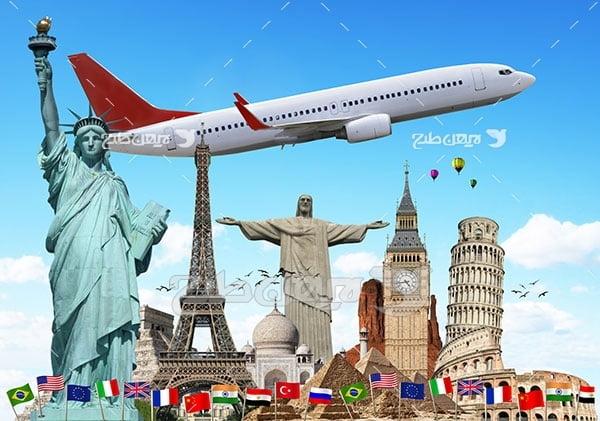 تصویر مسافرت و گردشگری، هواپیما و مکان های گردشگری دنیا
