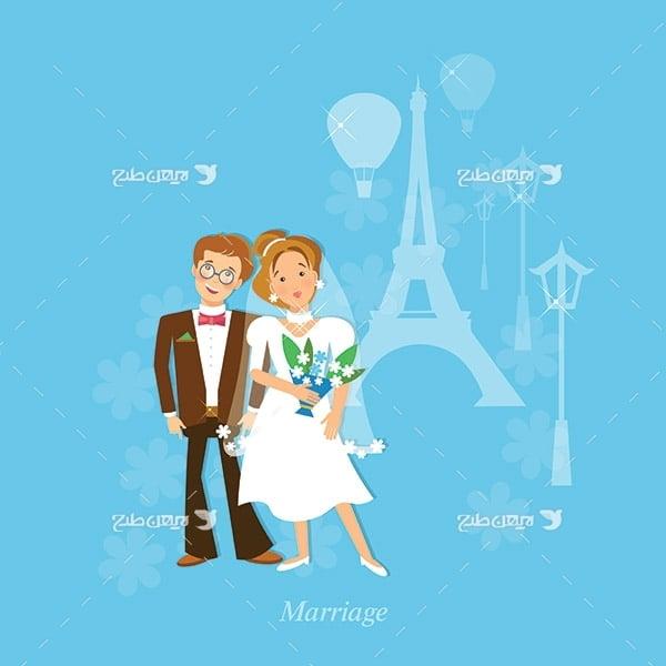 طرح وکتور گرافیکی عروس و داماد