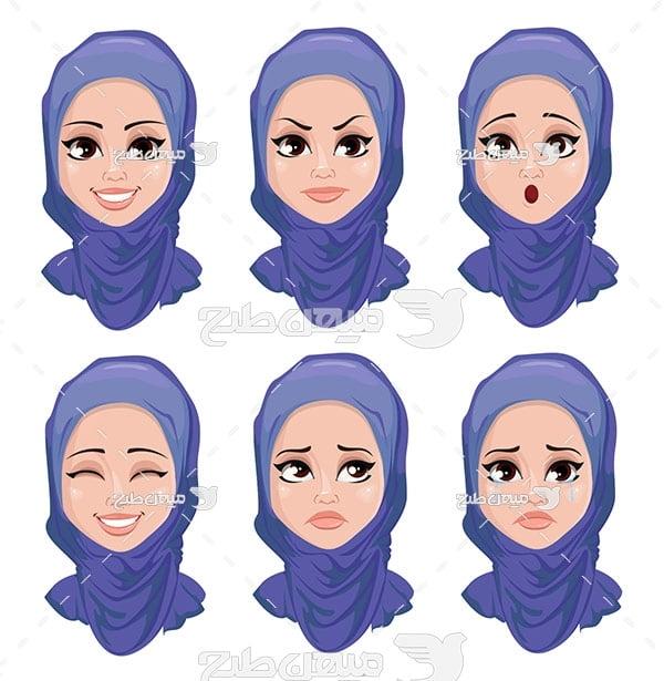 وکتور کارکتر زن با حجاب و چهره
