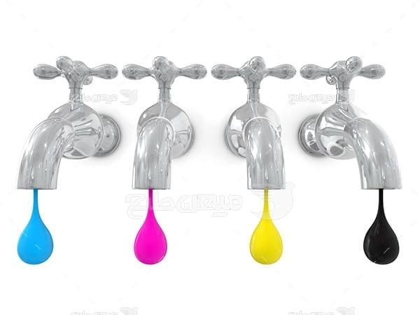 عکس نماد رنگ چاپ و تبلیغات به شکل شیر آب و قطره