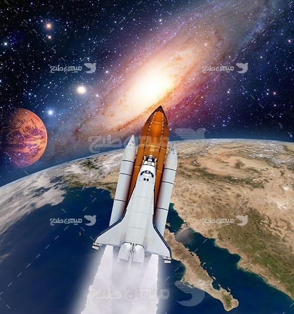 عکس فضاپیما و سیاره زمین و مشتری