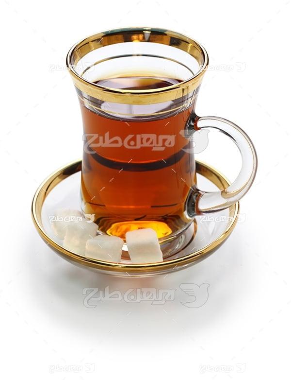عکس استکان چای و قند