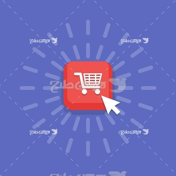 وکتور دکمه صفحات وب سایت فروشگاه